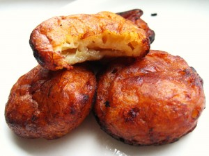 Banana fritters, known as Diduhs on Pohnpei, are deep fried bananas in a tasty batter.